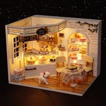 Cake Diary DIY Miniature Doll House 3D Wodden Handmade Dust Cover DollHouse Toy Miniaturas Furniture Kit Dollhouse Toys for Kids
