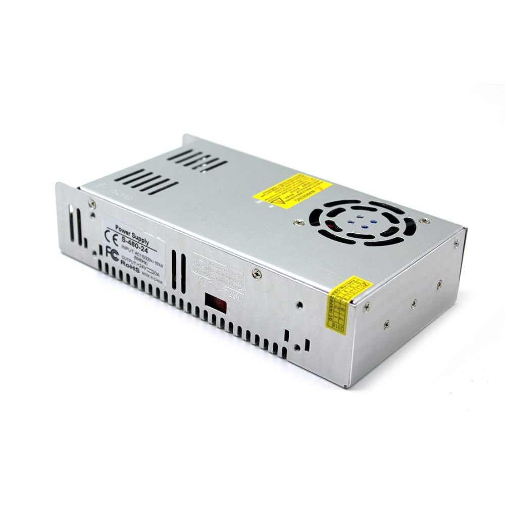 Switching Power Supply DC24V 20A 480 W LED Driver Transformer 110 V 220 V AC Ke DC untuk Lampu Strip CNC CCTV 3D Printer AV TV