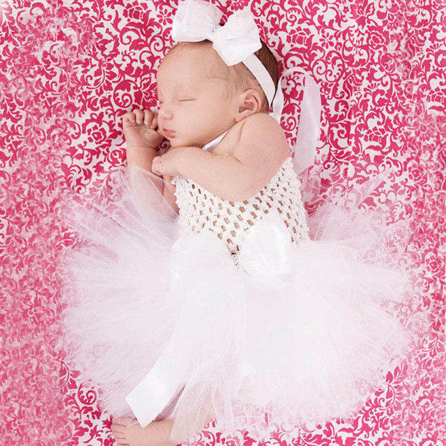 93c39d15ce4 Lovely Baby White Tutu Dress Girls Crochet 1Layer Tulle Dress Ballet Tutus  with Daisy Flower Newborn Birthday Party Dress Cloth