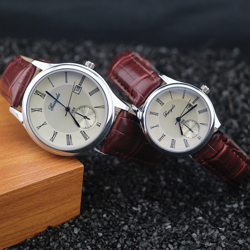 Water Proof!Leather Band,silver Plating Case,auto Date Function,Gerryda Fashion Lover Couple Quartz Watch,Tt Is One Piece Price!