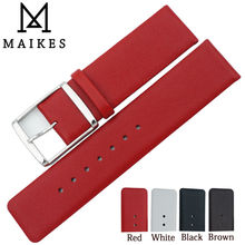 MAIKES 16mm 18mm 20mm 22mm Genuine Leather Watch Band High Quality Thin Red Watch Strap  carbon fiber particles watchband 18mm 20mm 22mm 24mmblack waterproof red stitching with genuine leather inner watch band strap
