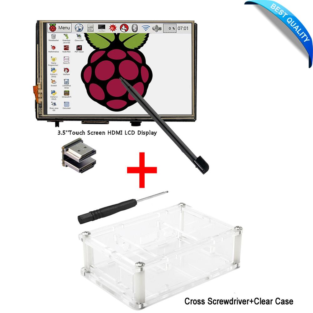 Prix pour 3.5 Pouce LCD HDMI Tactile Écran 1920x1080 LCD Affichage Audio avec Clear Case pour Raspberry Pi 3 Modèle B