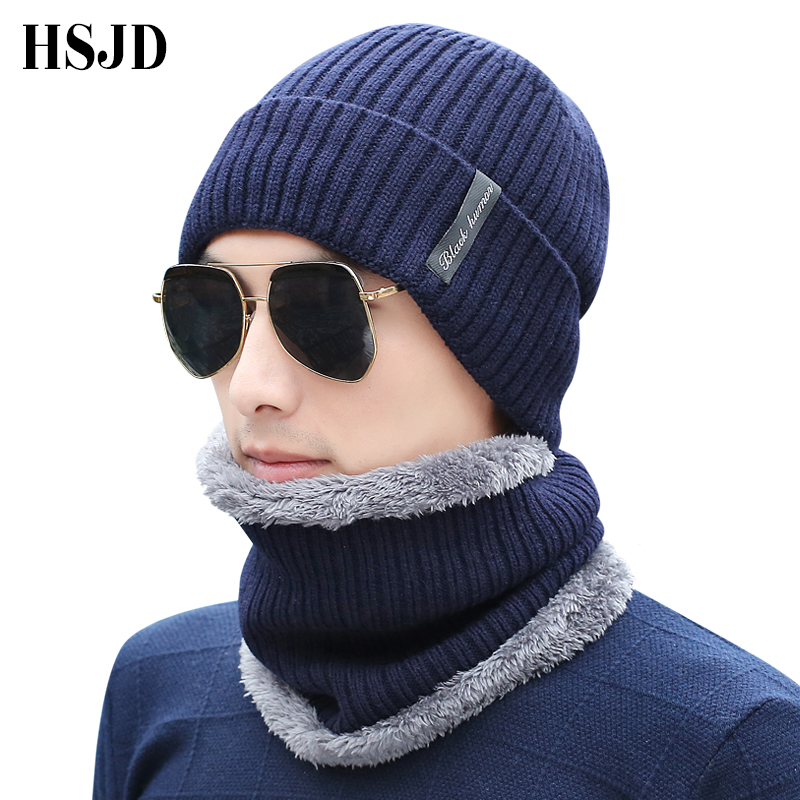 c897b079c8a Male Knitted Plaid Beanies Scarf Winter Stocking Hat Men Warm Add Velvet  Hip Hop Hats Labeling ...