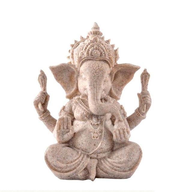 Sculpté à la main grès assis ganesh bouddha divinité