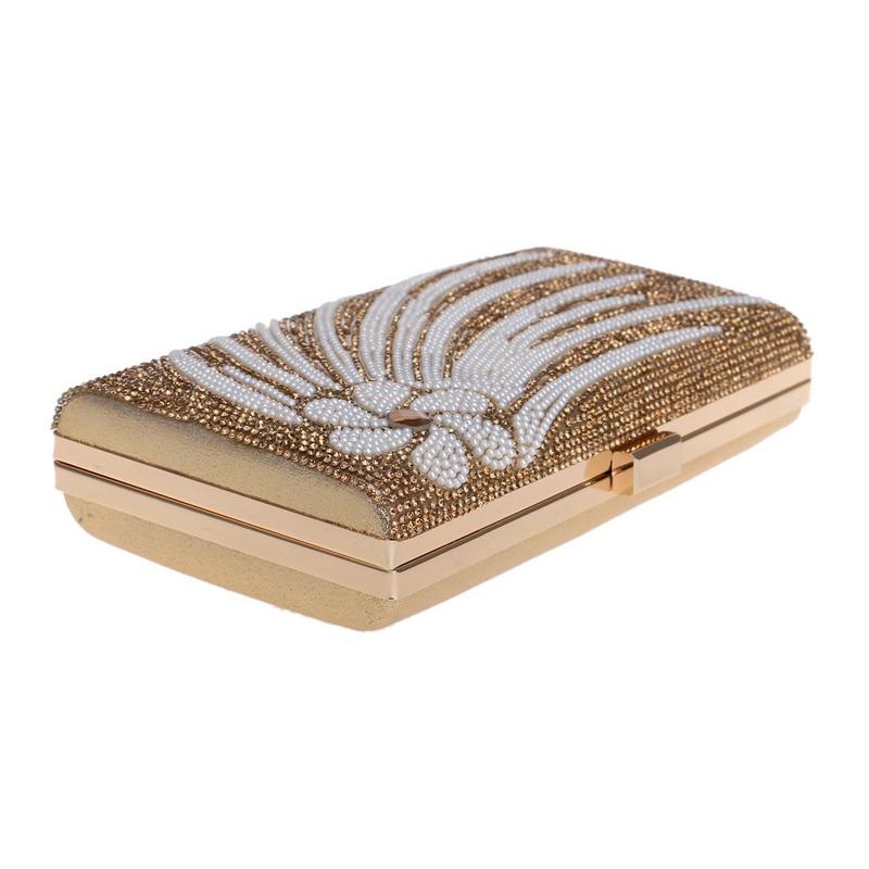Noir Soirée Mode Embrayages Fleur golden Sac Main À Xiyuan argent De Noce Black Peal Femmes Embrayage or Petite 2018 silver Sacs Perles Cristal dxaS4Zdn