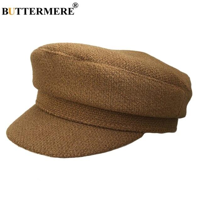 BUTTERMERE del ejército de las mujeres amarillo sombreros militares de lana  de pico de pato Ivy 4418da9cfd8