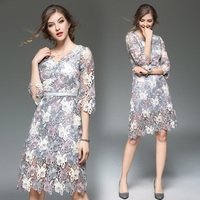 Spring Women European Runway Fashion Design Flower Embroidery Hollow Out Lace Dresses Plus Size Ladies Sexy