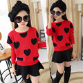 Full Heart Girl Knitted Sweater 2017 New Casual Batwing Sleeve O-neck Children Girl Sweater Black Red Girl Sweater Clothing