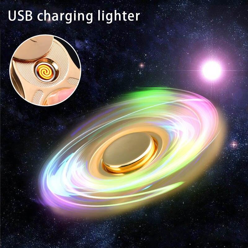 Ручной Spinner легче Перезаряжаемые Turbo зажигалки 1 предмет пальца гироскоп легче зарядка через usb электронные плазмы