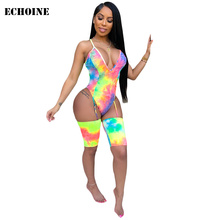 Tie Dye Print Jumpsuit Sexy Spaghetti Strap Backless Bodysuit Club Outfits Hollow Out Women V-neck Playsuit Female Rompers 2019 army green v neck cut out self tie playsuit