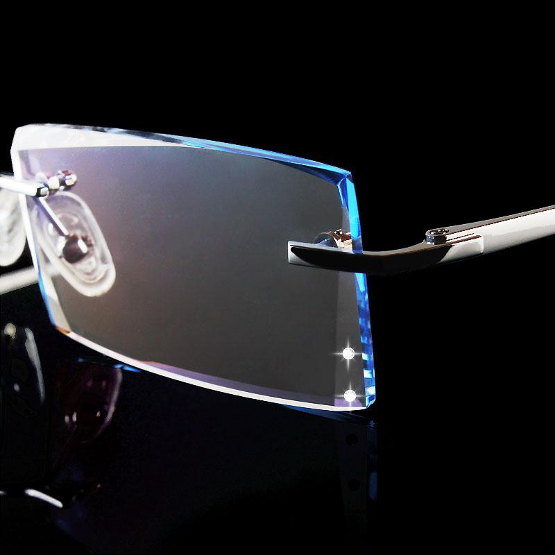 Titane lunettes monture sans monture mode exquis diamant garniture lunettes pour hommes prescription sans cadre myope lunettes 102