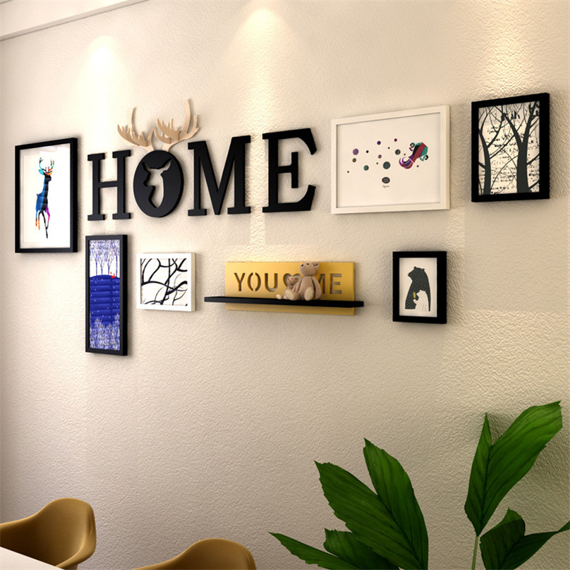 Mordern Collage 6pcs Picture Frames+Home Letter+Shelf Wall Decor ...