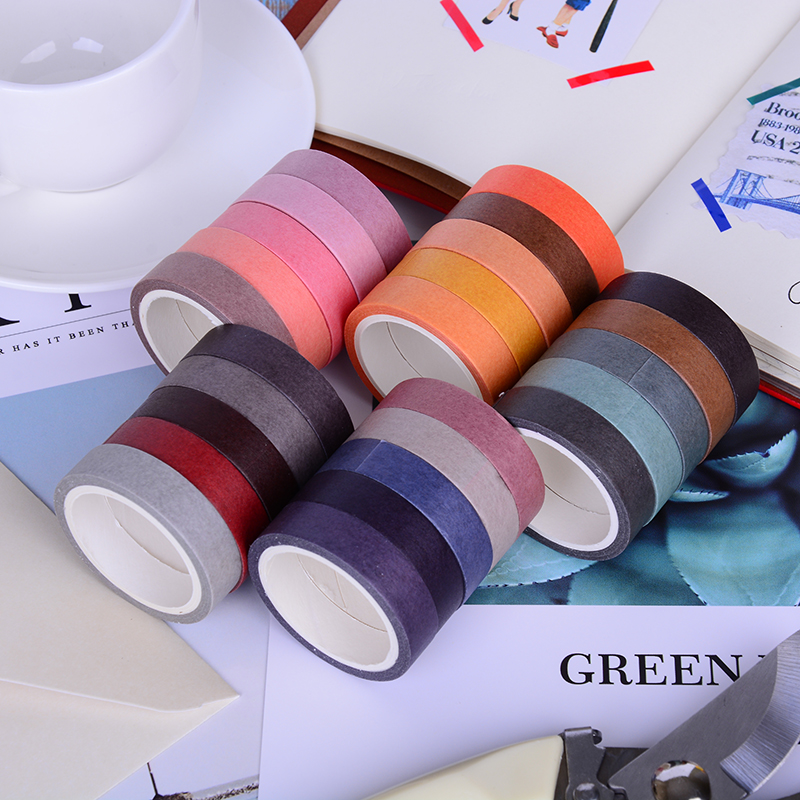 Tapes, Adhesives & Fasteners Peerless 5x Solid Color Paper Tape Diy Decorative Scrapbook Masking Tape Washi Tape Stationery Office Adhesive Tape 10mm*5m