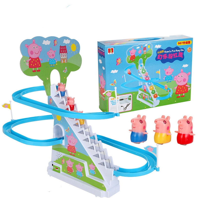 Us 20 86 47 Off Peppa Pig Pretend Play Electric Music Lighting Small Electric Slide Climbing Stairs Kitchen Toys Toys For Children In Kitchen Toys