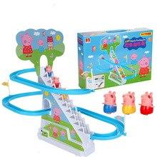 Peppa pig fingir jogar música elétrica iluminação pequena corrediça elétrica escalada escadas brinquedos de cozinha para crianças
