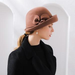 Image 2 - 女性の秋と冬のパーティーフォーマルな帽子イングランドファッション Elengant 不規則な 100% ウールフェルト帽子