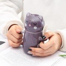 3D Cat Cups Cute Cartoon Personality Coffee Mugs Breakfast Ceramic Mug with Spoon Milk Cups Novelty