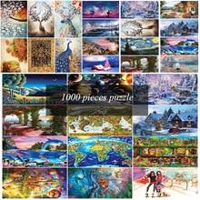 27 típus Hot Sale felnőtt 1000 db Jigsaw Tájkép Puzzle Gyerek kreativitás DIy Cartoon rejtvények Képzeld játékokat Ajándék