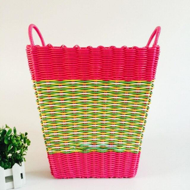 Fashion Plastic Dirty CLothes Basket Toy Storage Basket With Plastic Woven  Hamper Laundry Storage Basket Bathroom Washing Bag