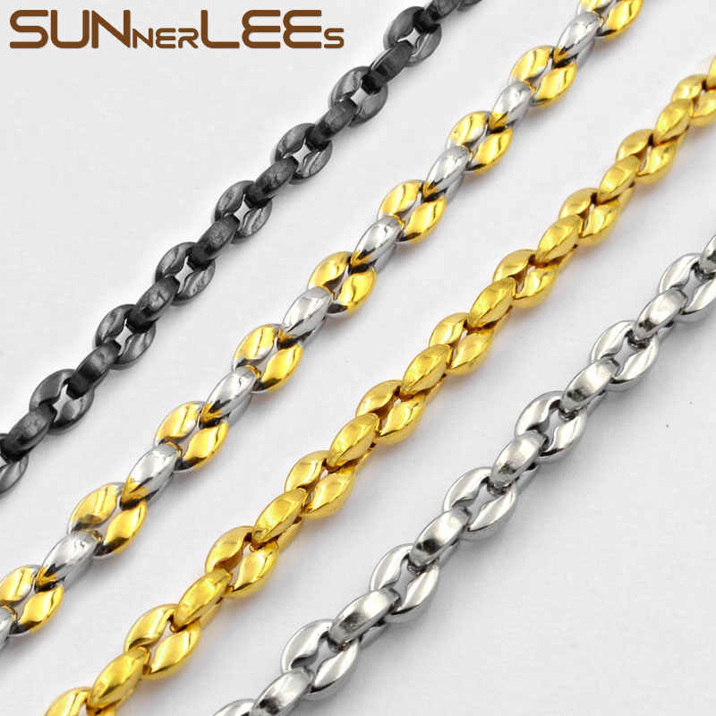 SUNNERLEES Stainless Steel Necklace 3~5mm Coffee Beans Link Chain Silver Gold Black Men Women Fashion Jewelry Gift SC35 N