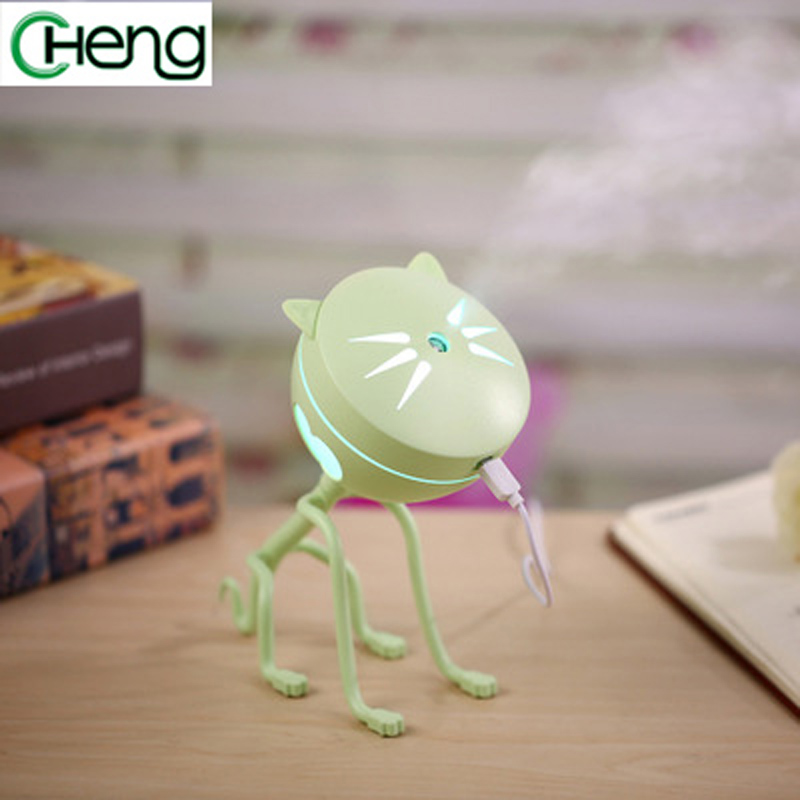 150ML Cat Air Humidifier USB Aroma essential oil Diffuser Ultrasonic Purifier Car or Home 5 color Mini night light Atomizer