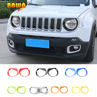 BAWA Car Stickers Headlight Head Light Lamp Decoration Frame for Jeep Renegade 2016 2017 Car Interior Accessories