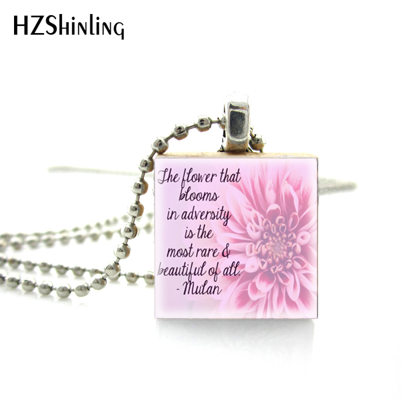 Fahsion Actively Style Flower Of Life Quotes Scrabble Art Pendant