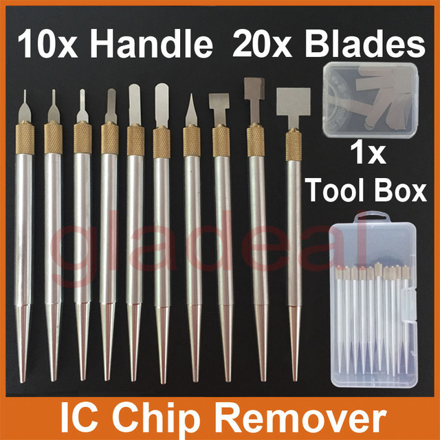 1 x Metal Handle /& 10 pcs Thin CPU Remover Burin Remove IC Chip CPU Tool Parts