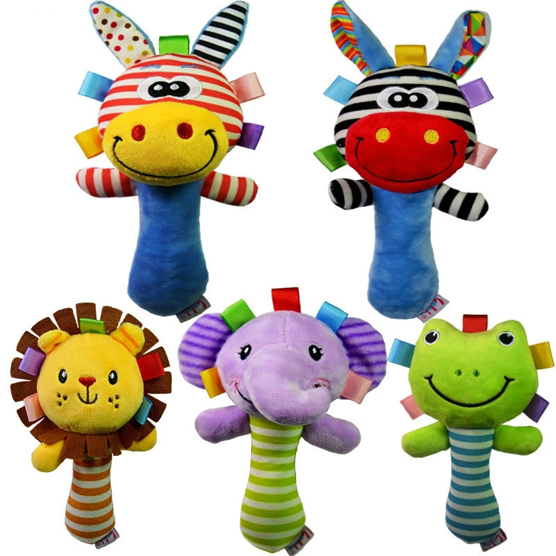 Soft Baby Toy Cartoon Animal Rattle Squeaker BB Sounder Early Educational Doll Elephant Giraffe Lion Frog Plush Hand Rattle Bell