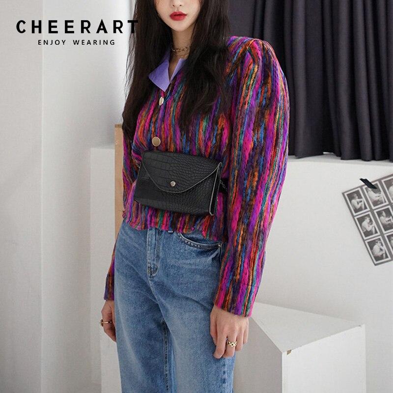 Cheerart arc-en-ciel veste femmes coloré automne veste court manteau coréen dames recadrée vestes et manteaux vêtements