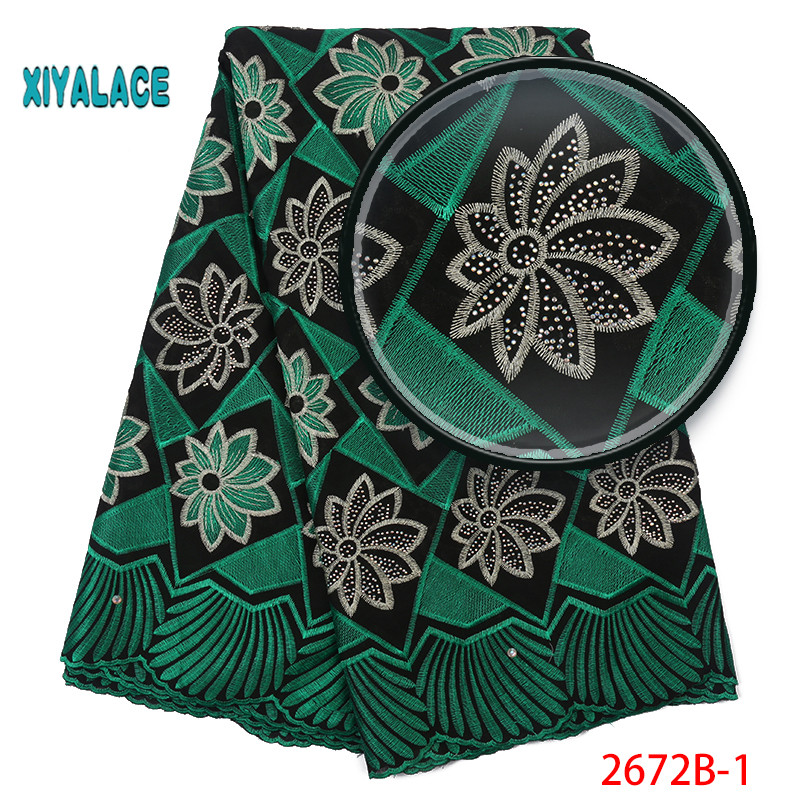 African Lace Fabric 2019 High Quality Lace Voile Lace Fabric New Design Swiss Voile Lace Switzerland Add Stones YA2672B-1