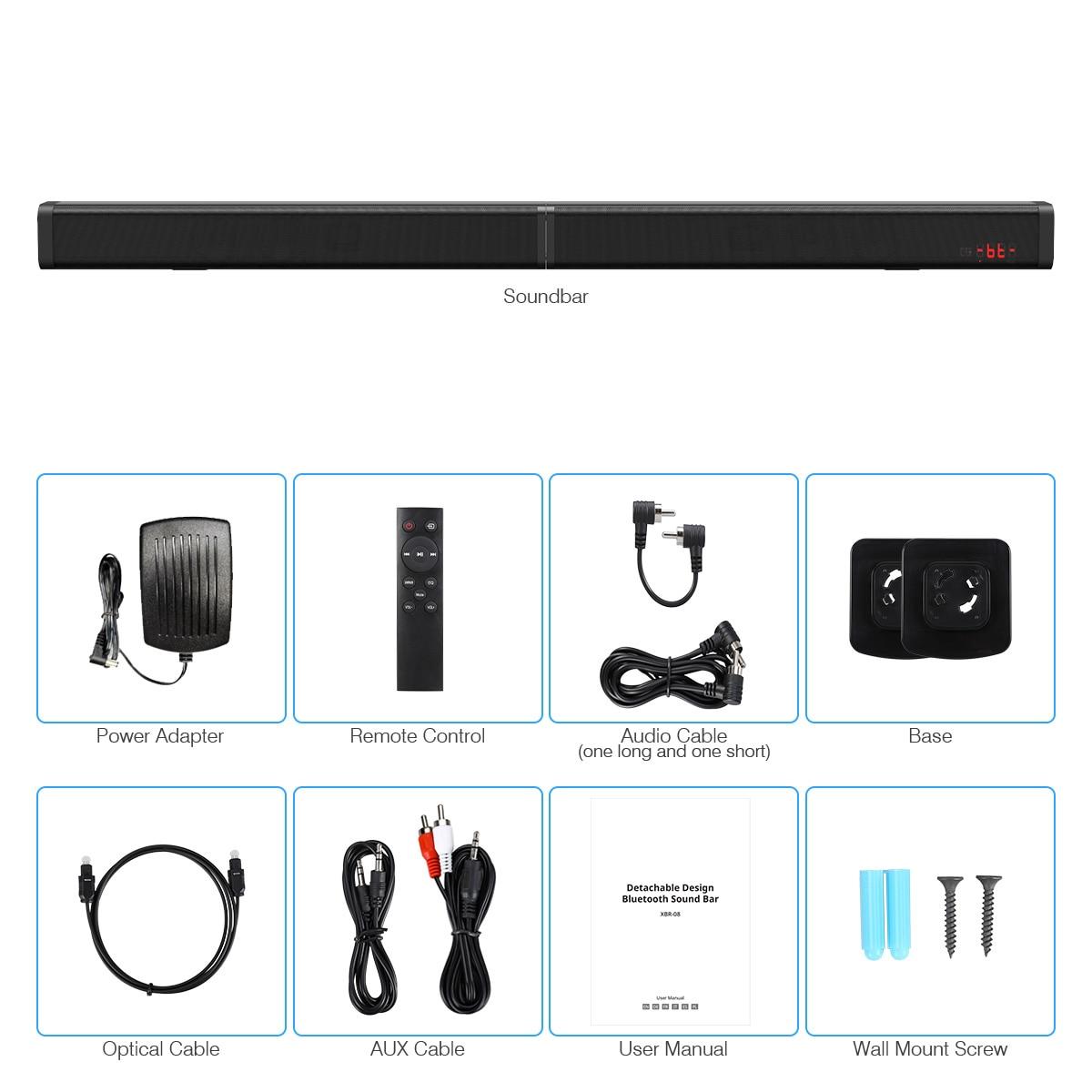 Excelvan 40 W amovible Bluetooth barre de son sans fil Bluetooth haut-parleur construit Subwoofe TV AUX optique barre de son stéréo Home cinéma - 6