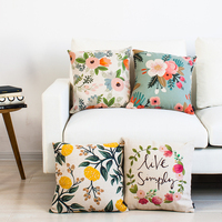 New Linen Pillow Cover Rustic Country Floral Gardon Flower Cushion Cover Home Decorative Kids Room Pillow