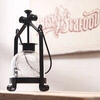 European style Dining Table Candle Holder Retro Iron Lamp Wedding Decor Portable Horse Lamp Mediterranean Home Decoration