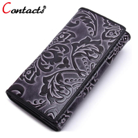 CONTACT S Vintage Genuine Leather Long Women Wallets 3 Fold Embossing Coin Purse Multifunction Card Holder