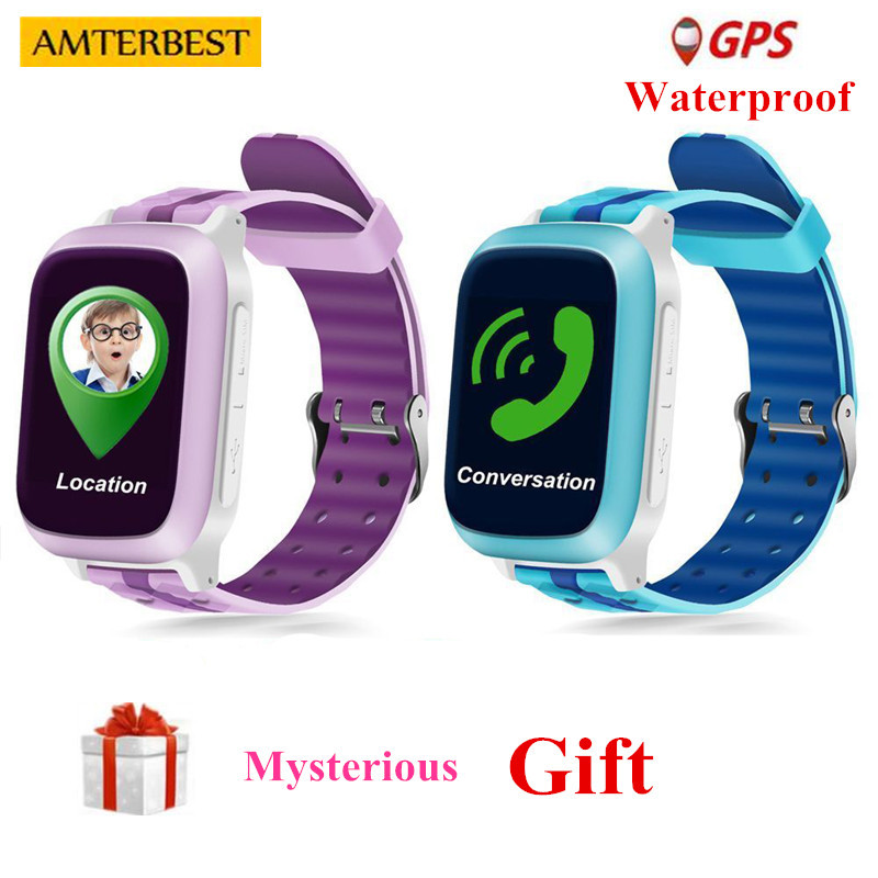 AMTERBEST DS18 Montre Smart Watch Enfants Enfants bébé GPS WiFi Locator Tracker SOS Appel SMS Étanche Soutien SIM Carte PK Q50 q90 Q10