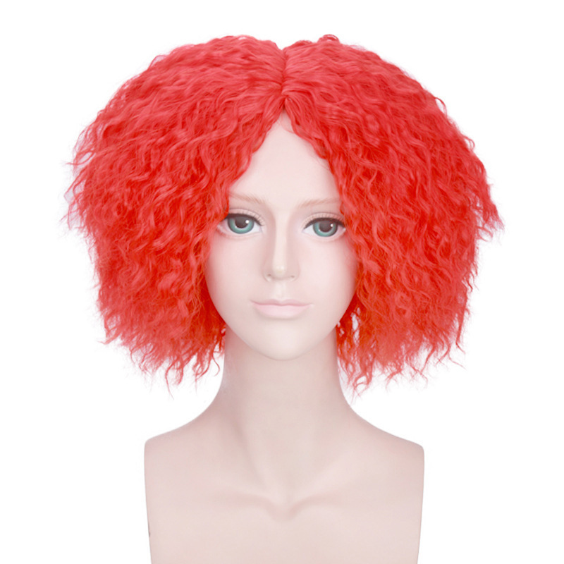 Alice In Wonderland Mad Hatter Arancione Rosso Breve Parrucca Riccia Di Cosplay Costume Tarrant Hightopp Capelli Sintetici Parrucche Del Partito Di Halloween