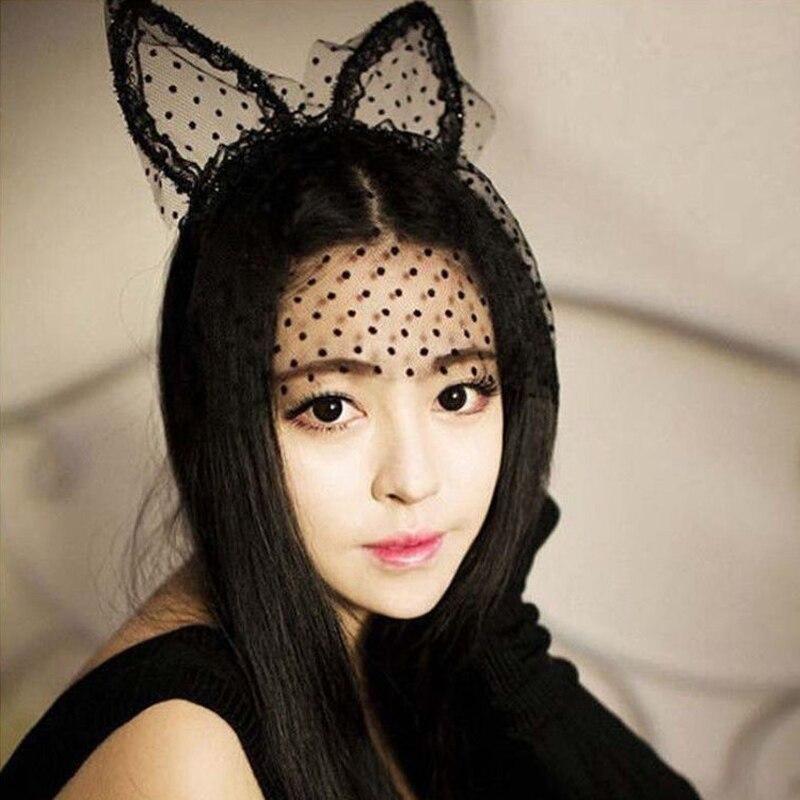 1Pc Sexy Women Girl Black Dot Cat Ears Lace Gauze Veil -4983
