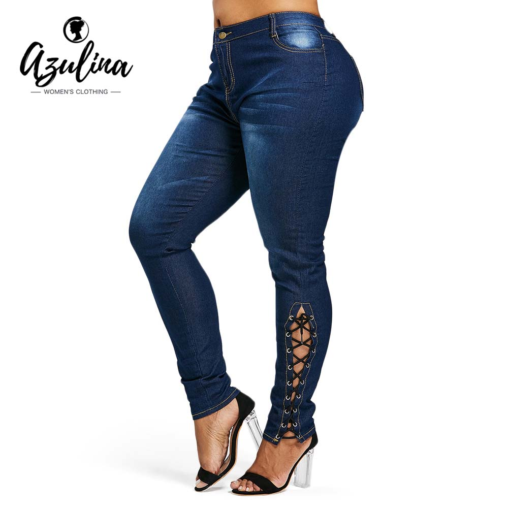 AZULINA Plus Size Zipper Fly Side Lace Up   Jeans   Skinny High Waist Pockets Denim Pant Women   Jeans   Pencil Pants Trousers Big Size