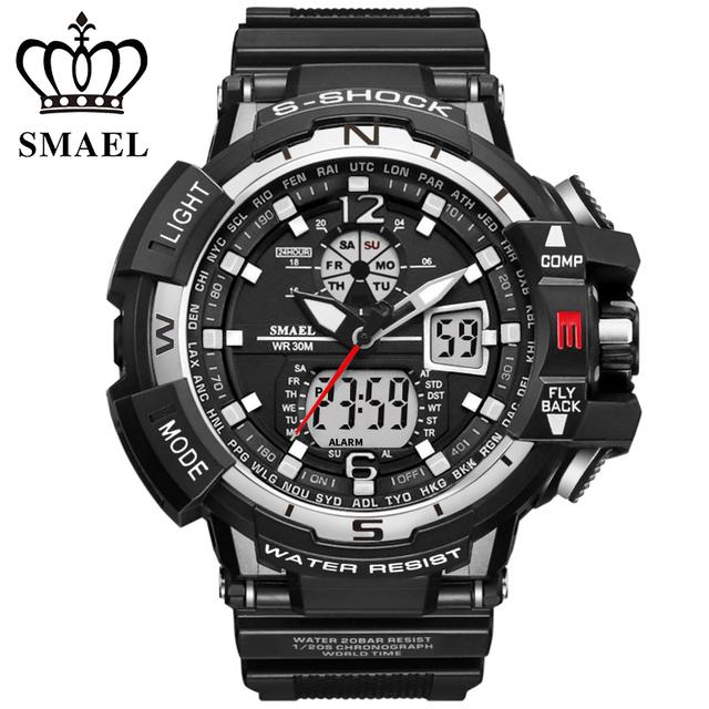 Smael para hombre deporte fecha día reloj luminoso impermeable lcd reloj despertador digital pantalla dual análogo de cuarzo hebilla de pulsera/wch0011
