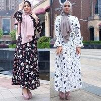 Plus Size Robe Femme Ete 2019 UAE Abaya Kimono Muslim Long Flare Sleeve Bodycon Maxi Shirt Dress Women Turkish Islamic Clothing