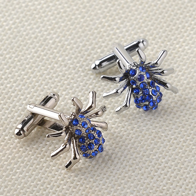 Blue Crystal High Luxury Cufflinks Spider Shape Men's Shirts Cuff Buttons Links Jewelry