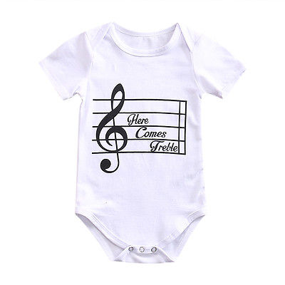 0bc1ea399 Cotton Newborn Infant Baby Boys Girls musical note Short Sleeve ...