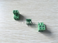 120 Pcs 5 08mm Angle 2 Pin Screw Terminal Block Connector Pluggable Type Green