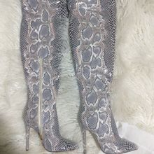 ebb53e05f6b Slouch Thigh High Boot Snake Skin Over the Knee Boots Sexy Super High Thin  Heel Pleated