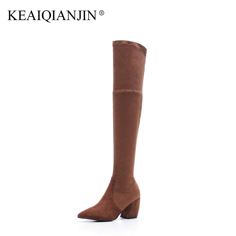 KEAIQIANJIN Woman Over The Knee Boots Black Brown Winter Pointed Toe Shoes High Heel Boots Genuine Leather Thigh High Boots 2018