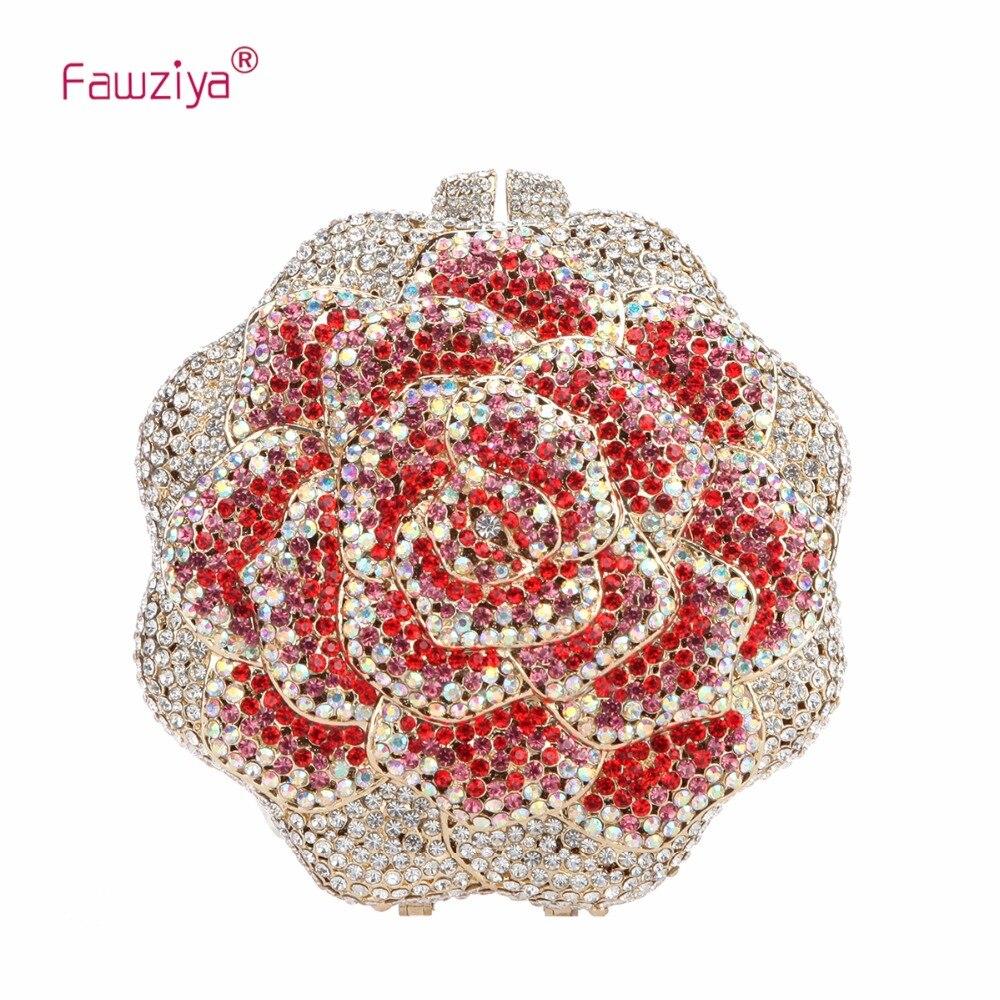 Fawziya Luxury Rose Evening Purse Rhinestone Crystal Flower Clutch Bag fawziya valentine bags ladies clutches with flower blossom evening purse rhinestone crystal clutch bag