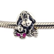 Ajuste para pulseras Pandora 100% 925 cuentas de plata Esterlina CK186 Eeyore Encanto De Plata con Esmalte Rosado Oscuro