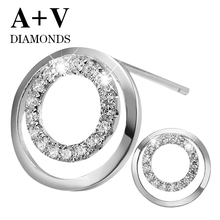 18K white gold 0.61ct nature diamond classic anf modern stylish round stud earrings for women engagement