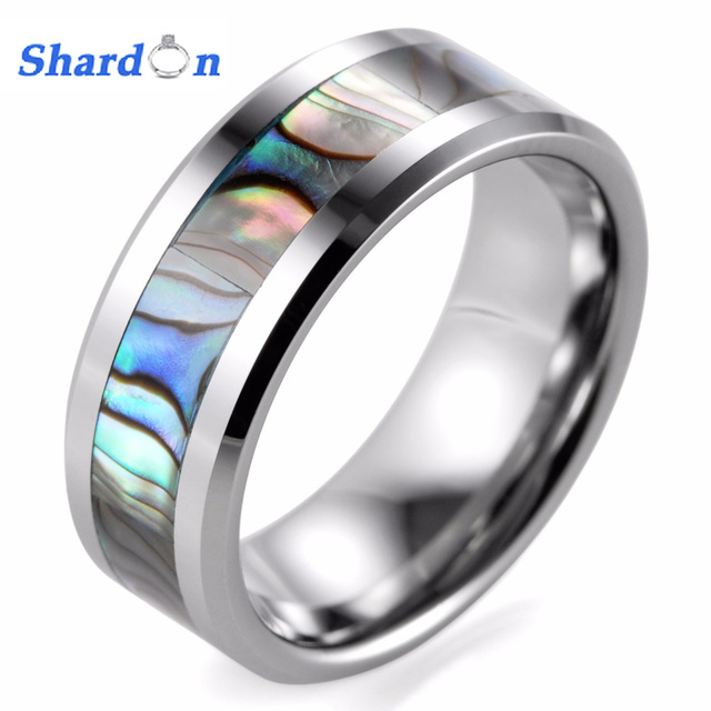 SHARDON 8mm Tungsten Wedding Band with Mother of Pearl Inlay ...
